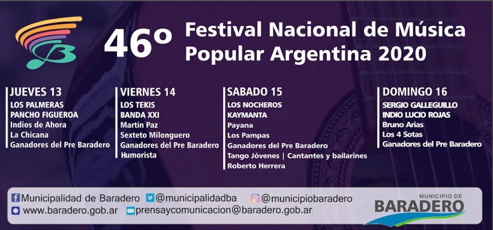 Resultado de imagen para 46° Festival de Baradero 2020
